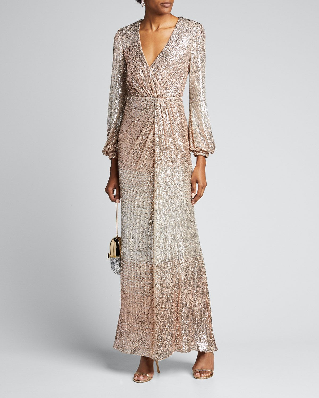 Ombre Sequin Long Sleeve Drape Gown Midi Dress With Sleeves Drape Gown Long Sleeve Sequin [ 1500 x 1200 Pixel ]