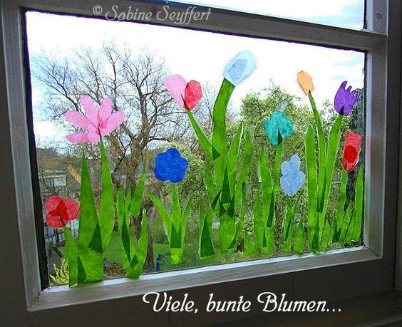 Frühlingswiese Für Die Fenster Im Gruppenraum