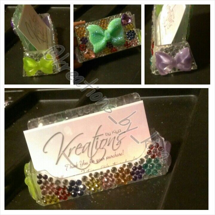 Rainbow flower bling business card holder ...... TO PLACE AN ORDER ...