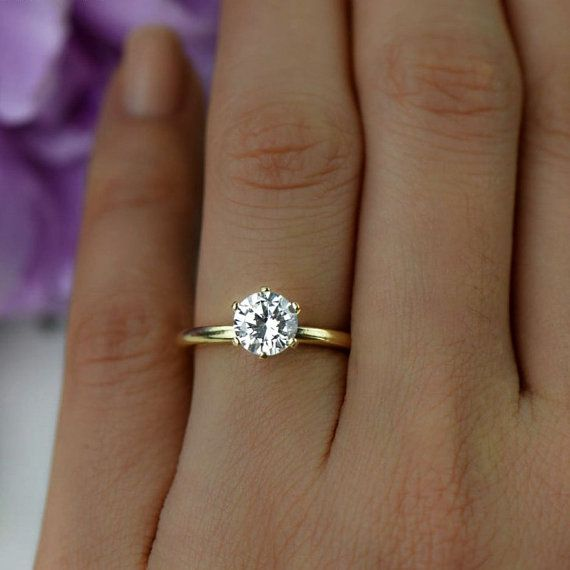 size 3.5~9 1.0 ctw  Solitaire Engagement Ring round Cut Wedding Ring 6 prong ring small ring Round Promise ring