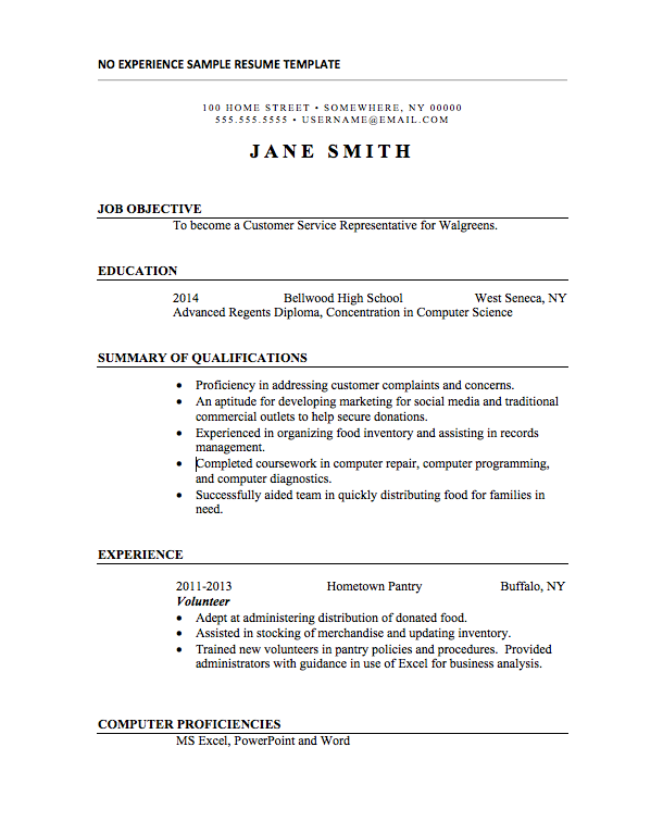 Resume Templates With No Experience Basic Resume Examples Basic Resume Resume Examples