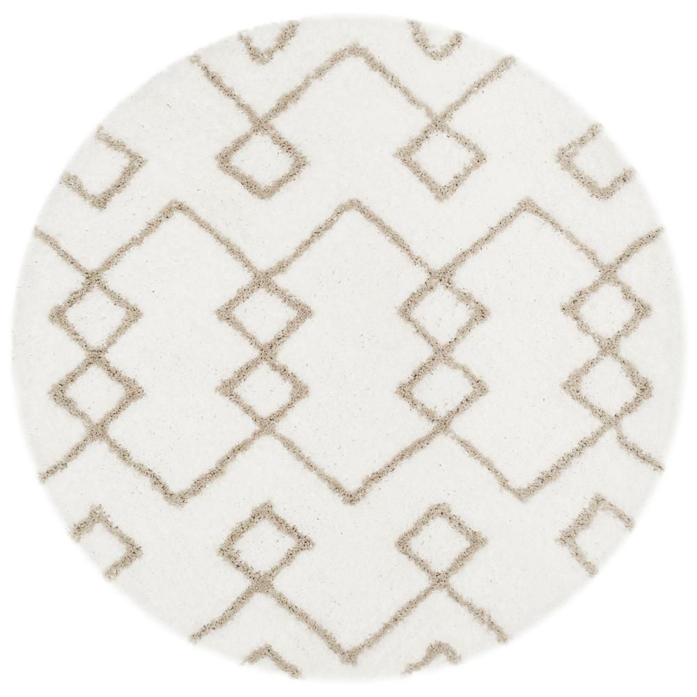 Safavieh Toronto Shag Ivory Silver 5 Ft X 5 Ft Round Area Rug