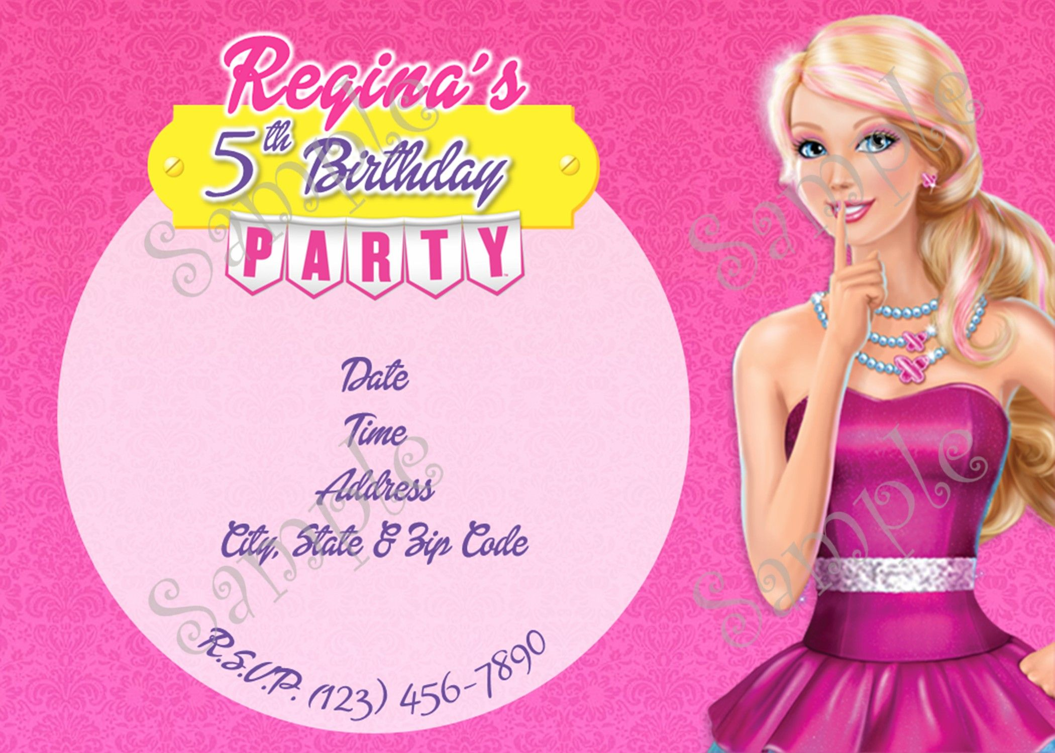 Barbie Birthday Party Invitation 5x7 or 4x6 Inches | Barbie ...