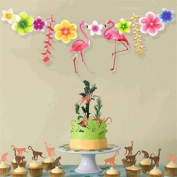 Party Decoration Flamingo Garland Hawaiian Luau Tropical Happy Birthday Banner Party Supplies #hawaiianluauparty