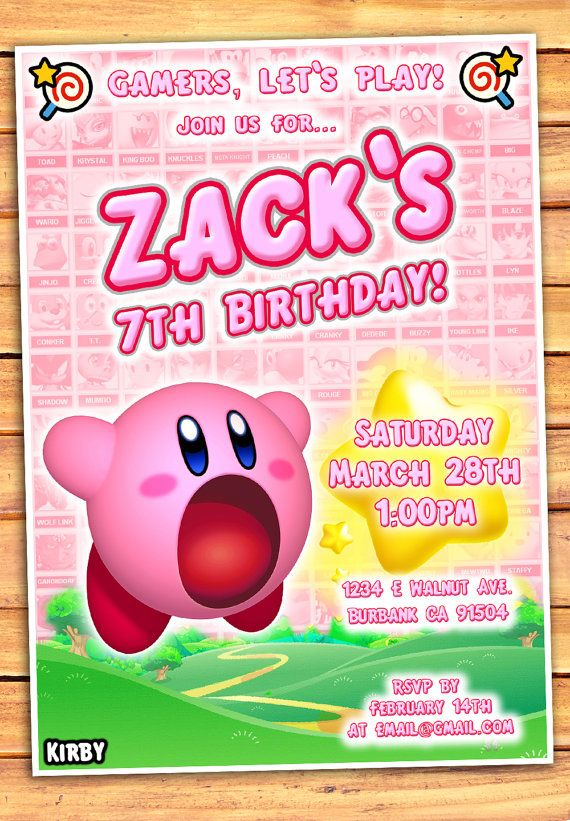 Kirby Birthday Invitation Video Game Party Games 9th Parties Ideas