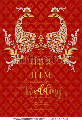 Indian Wedding Invitation Card Templates With Gold Patterned And Pearl On  Paper Color Background.