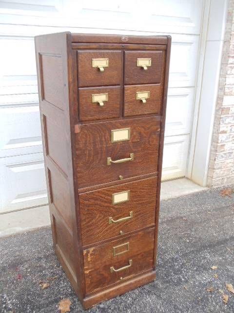 Vintage Antique Macey Tiger Oak 7 Drawer File Cabinet 4 Over 3 W