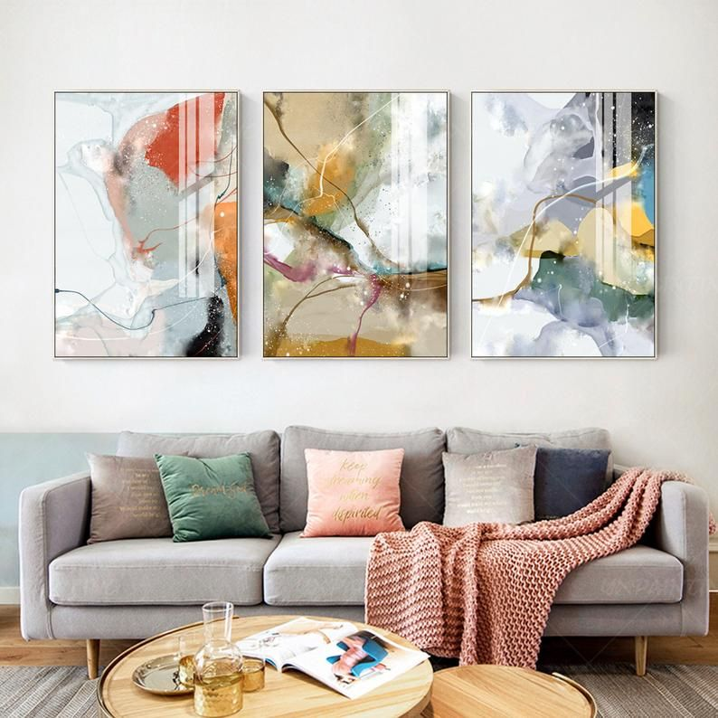 Framed Painting Set Of 3 Wall Art Abstract Print Art Etsy In 2020 Painting Frames Paint Set Painting