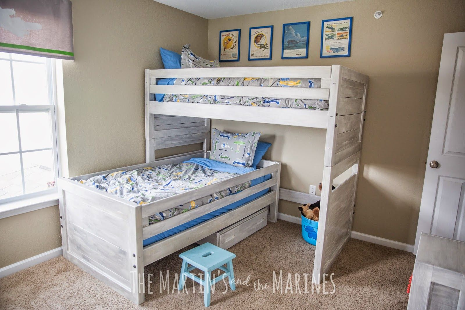 A Little Boy S Airplane Bedroom Makeover With Bunk Beds Vintage Hanging Airplanes Diy Painted Curtains And Refinished This End Up Furniture