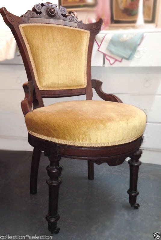 Eastlake Victorian Parlor Chairs Lift Used Chair Carved Walnut Round Gold Upholstery Sold