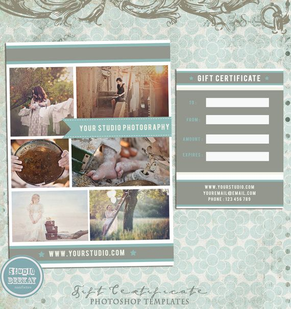 Photography Gift Certificate Template  Gift Certificate  Instant
