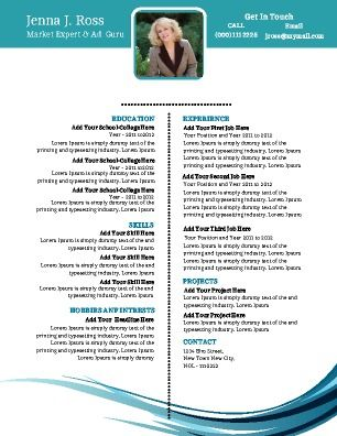 A stylish CV or Resume that utilizes modern concepts to help make
