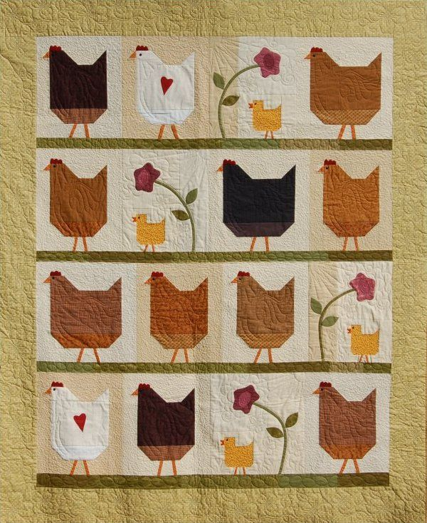 Hen Party Quilt Pattern Love These Chickens Quilts I Love Adorable Chicken Quilt Pattern