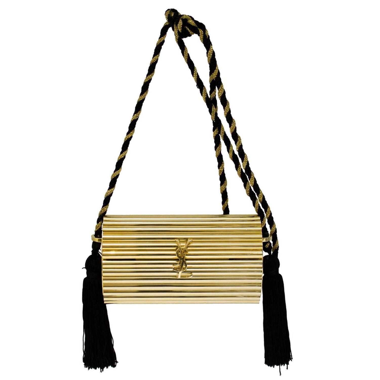 1980 s Yves Saint Laurent YSL Gold Minaudiere Handbag  e38bc159d7b2a