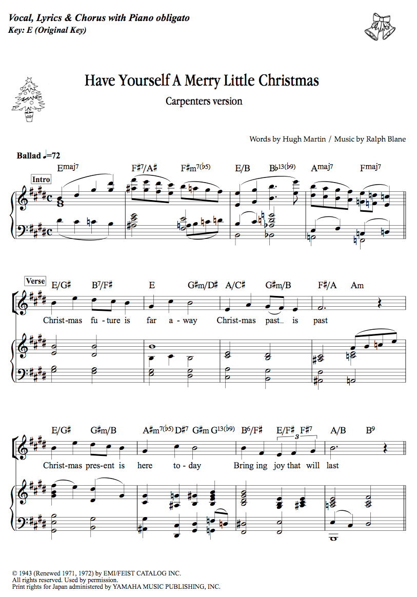 have yourself a merry little christmas carpenters music sheet links dojin ongakunori http