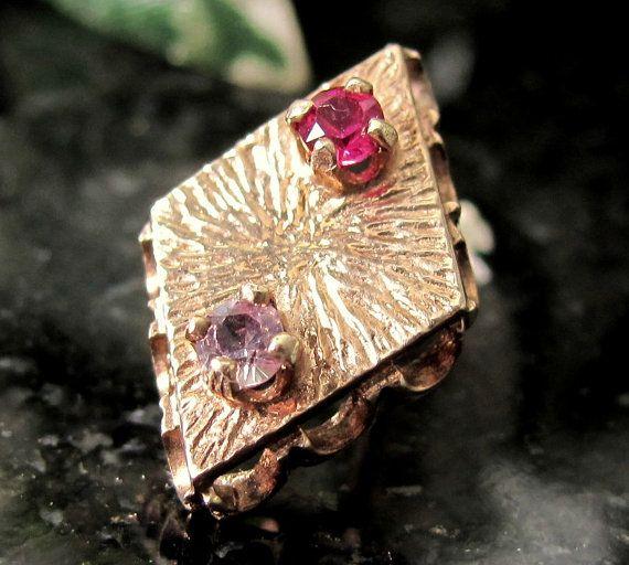 Vintage 10K RUBY AMETHSYT Tie Tack Diamond Shape by ShootingCreek, $88.00