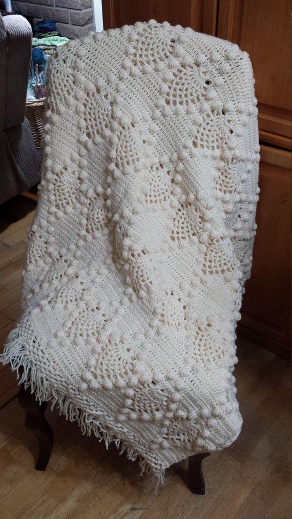 Vintage Style, New Handmade Crochet Pineapple Popcorn stitch Blanket ...