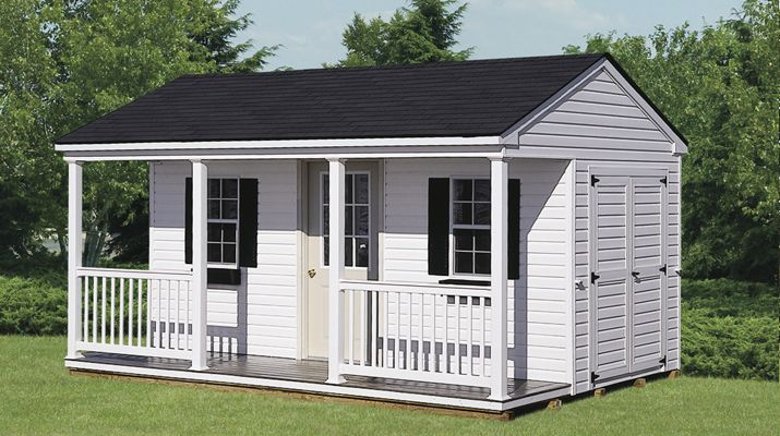 regular series poolside workshop shed 10 x 16 vinyl siding options shown shutters