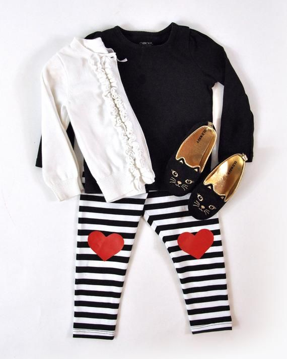 bd9a054697ef4 Heart Knee Patch Leggings | Sizes 3 - 6 Months | Black, White, Stripes, Red  | Products in 2019 | Leggings, Spandex fabric, Stripes