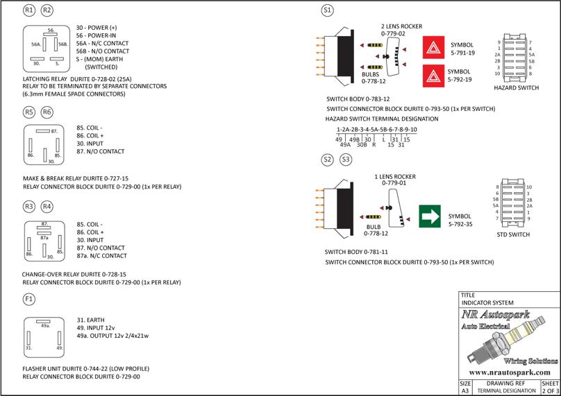 NR Autospark Vehicle Indicator System Switch Relay Designations