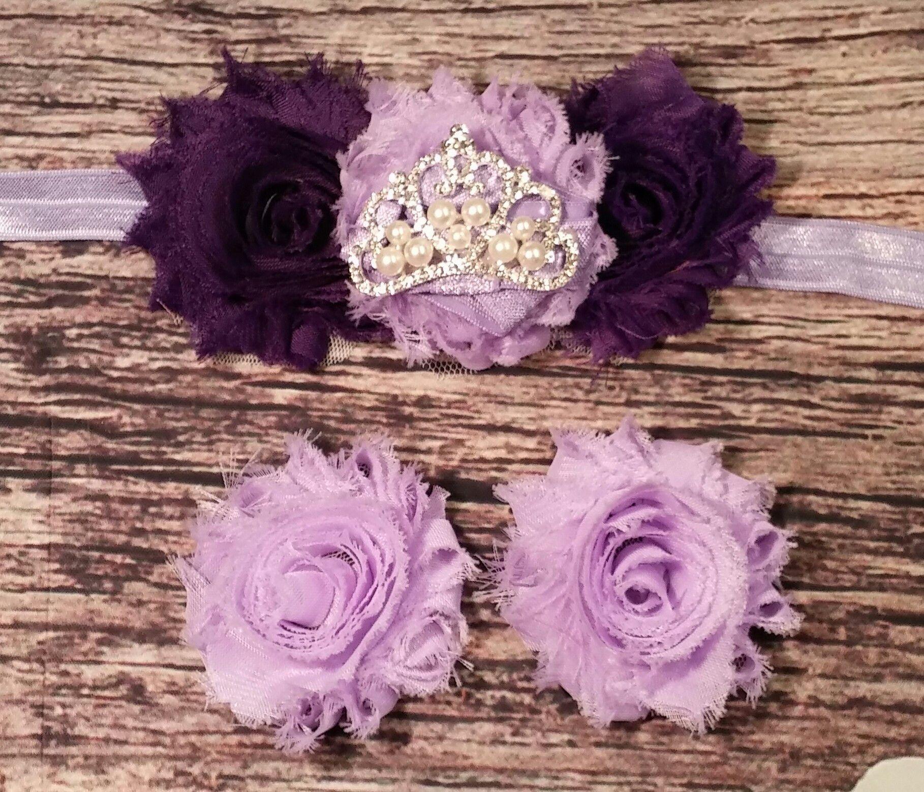 Purple Shabby And Rhinestone Crown Headband And Barefoot Sandal Set