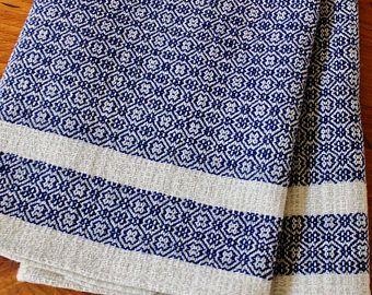 Kitchen Towel Handwoven Dish Hand Woven Cotton Linen Natural Navy