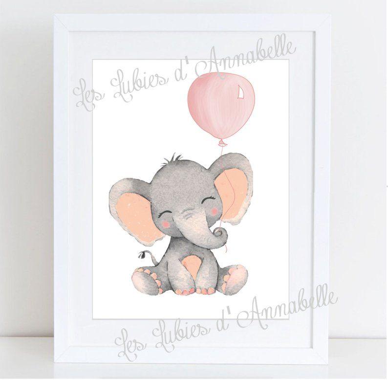 Affiches Chambre D Enfant Bebe Elephant Et Ballon De Baudruche