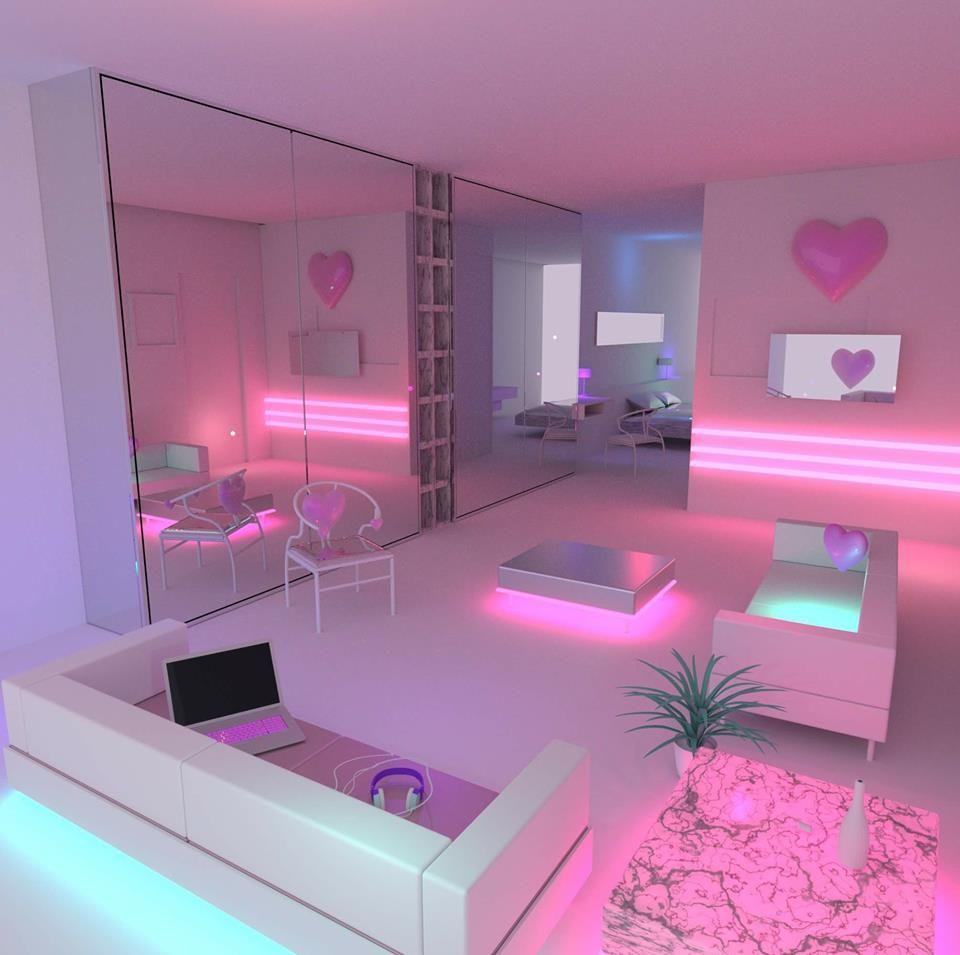 Una habitacion iluminada del futuro | Decoración de ... on Room Decor Ideas De Cuartos Aesthetic id=88865