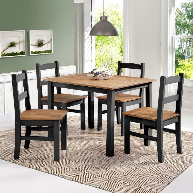 Manhattan Comfort York 5-Piece Solid Wood Dining Set with ...