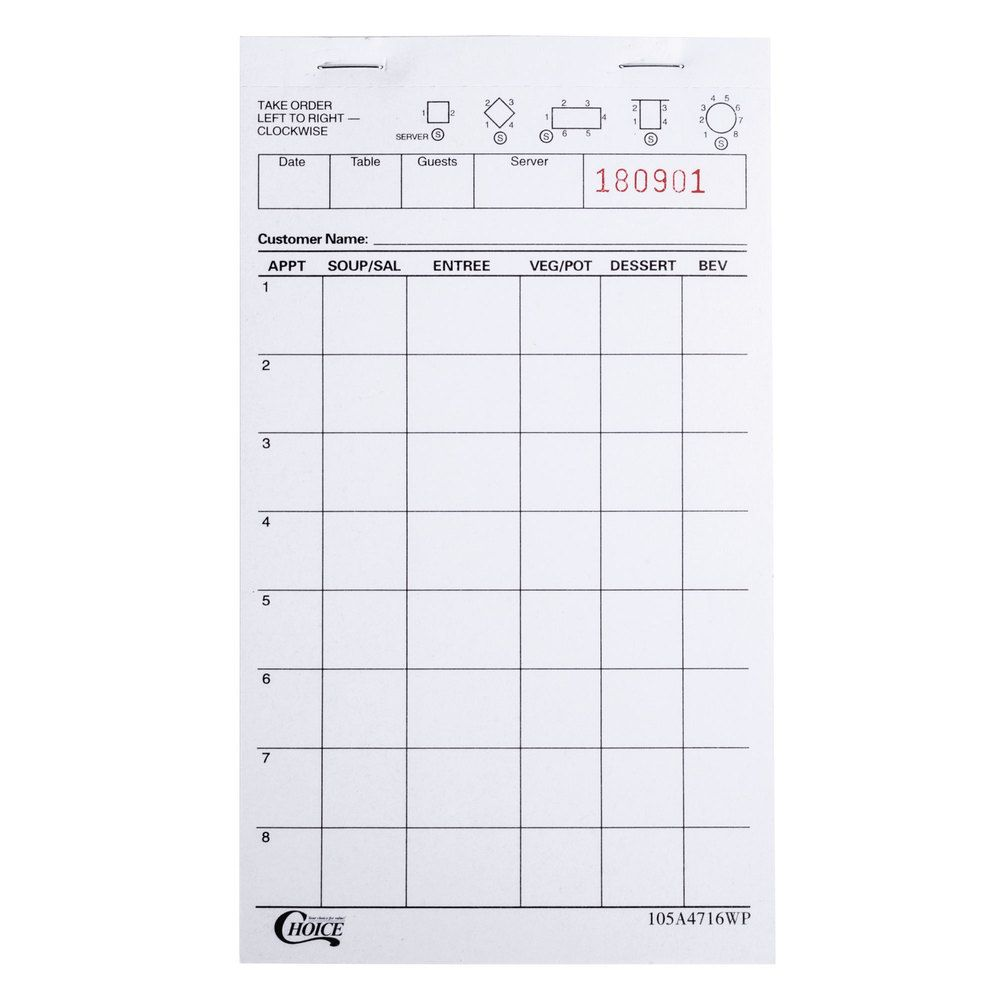 Choice  Part White Waiter  Waitress Order Pad  Pack
