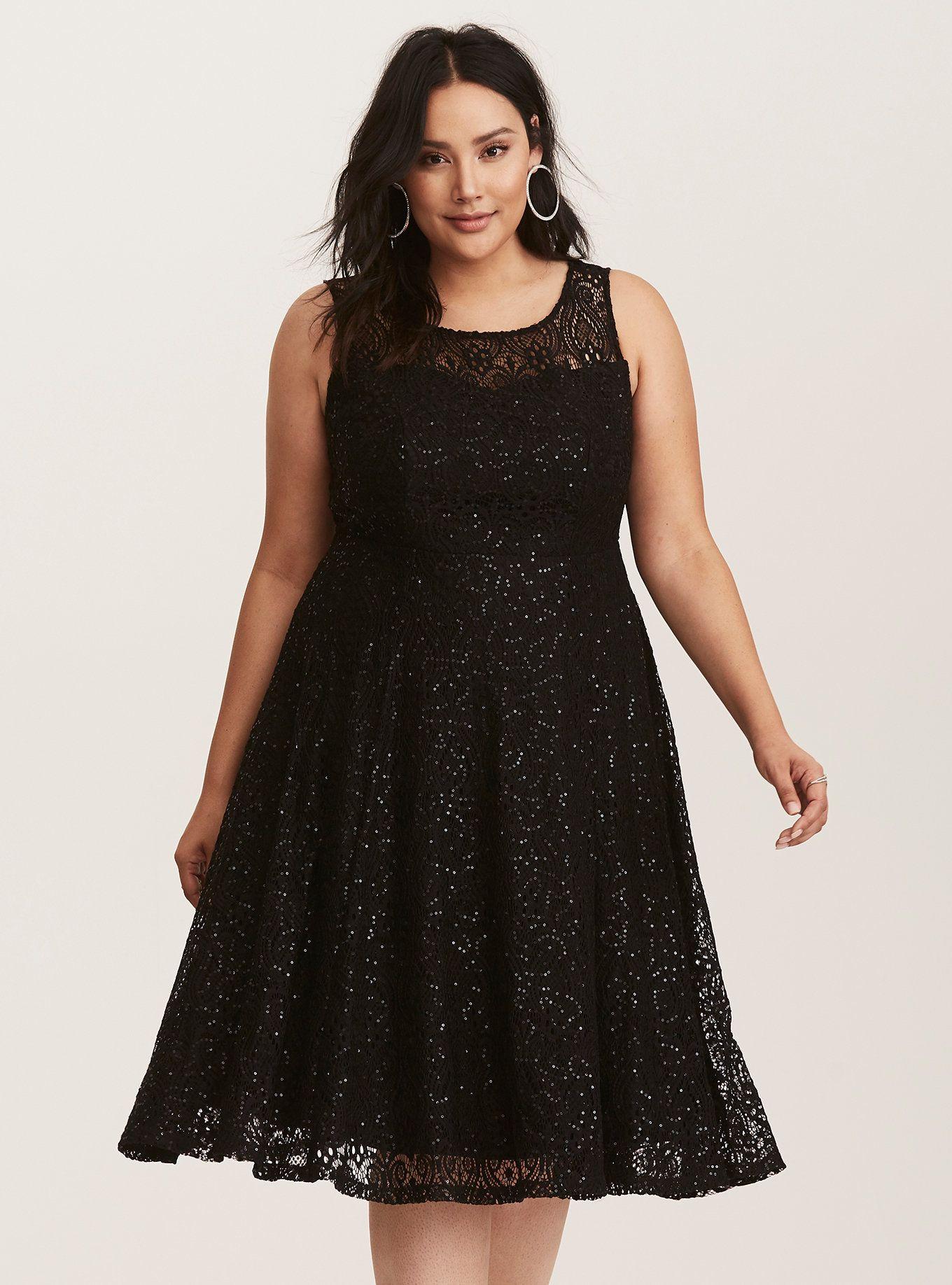 Special Occasion Black Sequin Lace Illusion Midi Skater Dress ... 94c6e04c8