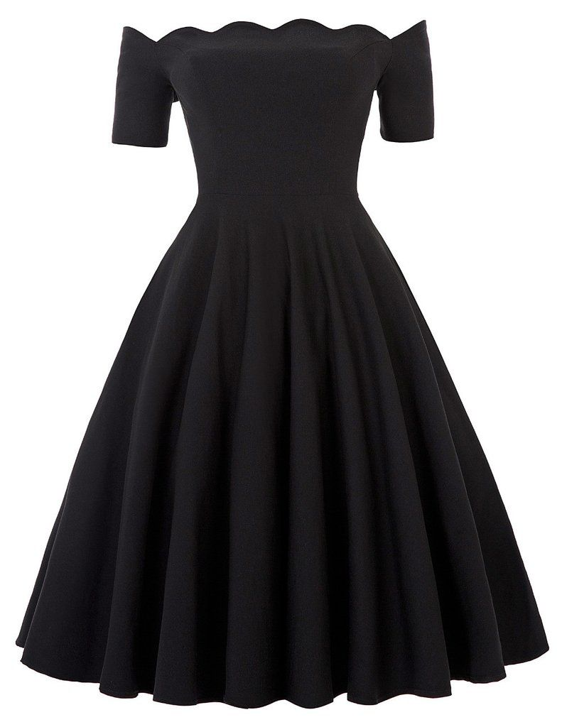 Off Shoulder Dress Audrey Hepburn Vestidos Vintage 50s 60s Rockabilly  Casual Robe Pin Up Swing Black Party Dresses With Sleeves 39dd057da0fc
