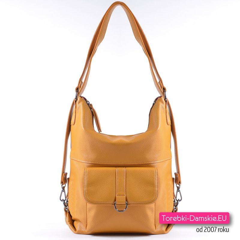 d8543d092afa1 Musztardowa torebka i plecak damski w jednym - modny odcień koloru żółtego!
