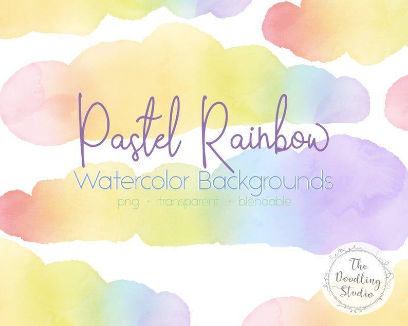 Pastel Rainbow Watercolor Backgrounds 12 Backgrounds Png Etsy Watercolor Background Pastel Rainbow Digital Watercolor