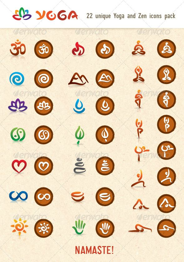Hatha Yoga And Zen Vector Icons Pack
