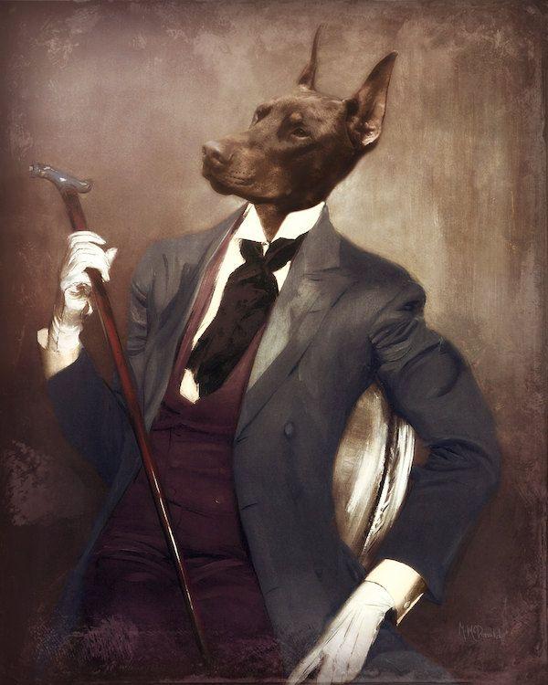 Dog Art Print Doberman Mixed Media Collage By Watchfulcrowarts