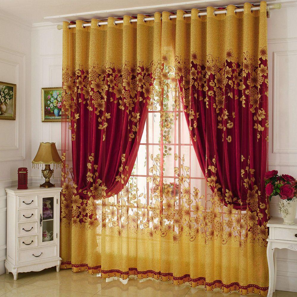 Gardine Blumen Jacquard Design im Schlafzimmer zu