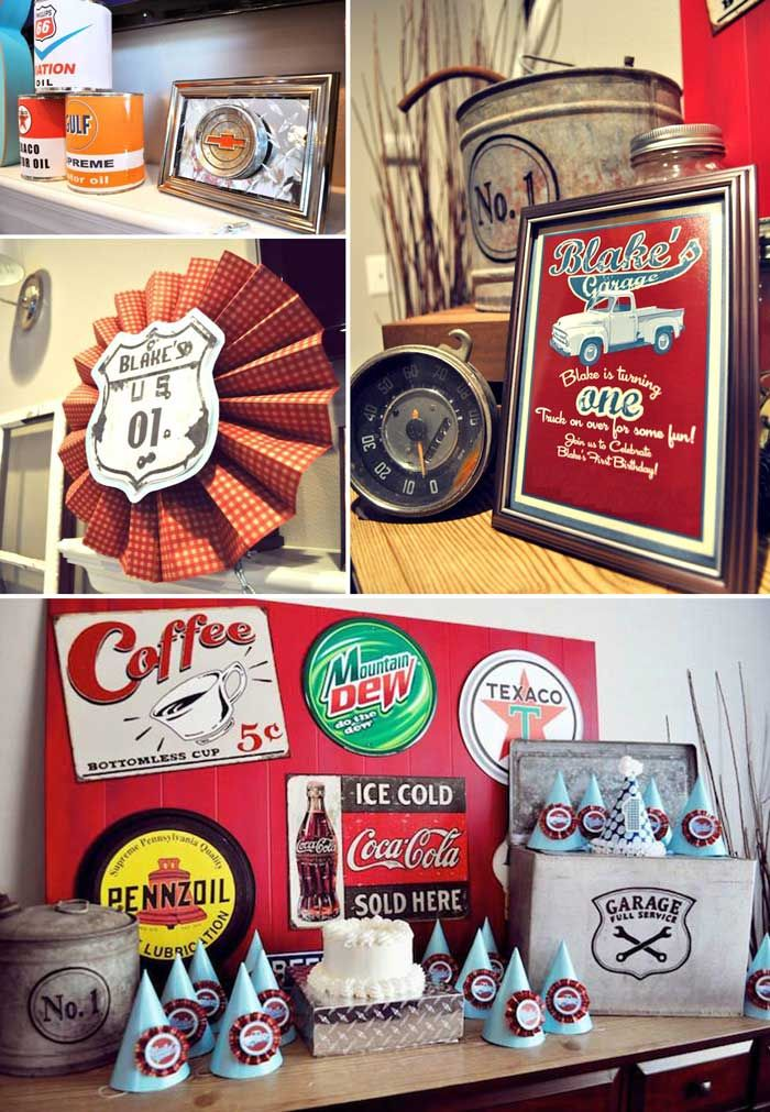Vintage Garage First Birthday Party Planning Ideas Decor Banner Vintage Car Party Cars Birthday Parties Vintage Car Birthday