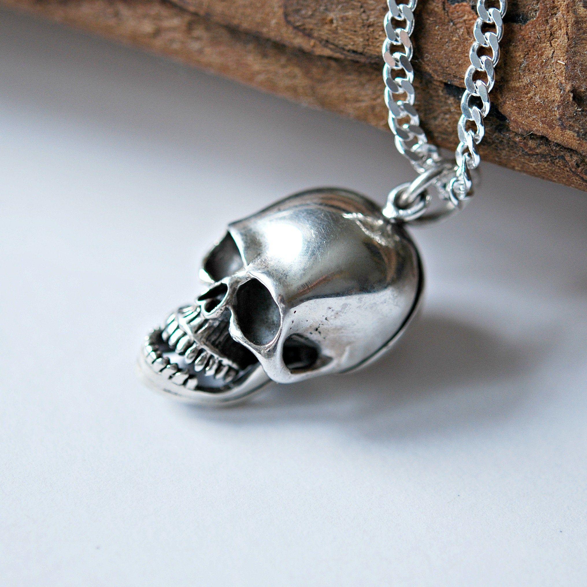 Sterling Silver Human Skull Pendant Skull Necklace Fine Skull Jewelry