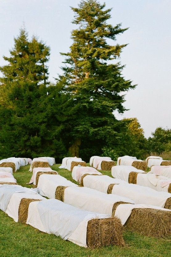 haybale seating- cover with inexpensive sheets or drop cloths ...