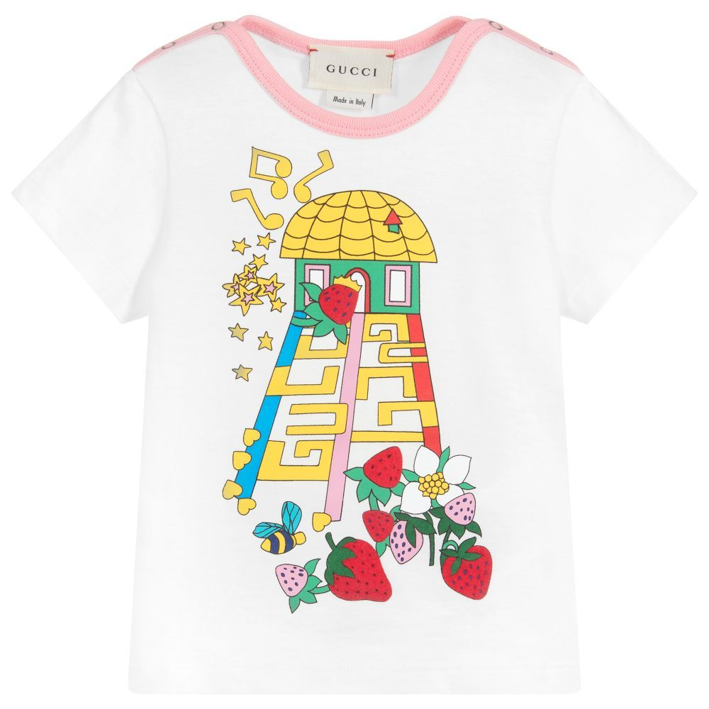 ae83252c9f8d A white cotton T-shirt for baby girls by luxury brand Gucci, made from soft  jersey with pretty pink trims. This sweet little top has a branded house  motif ...