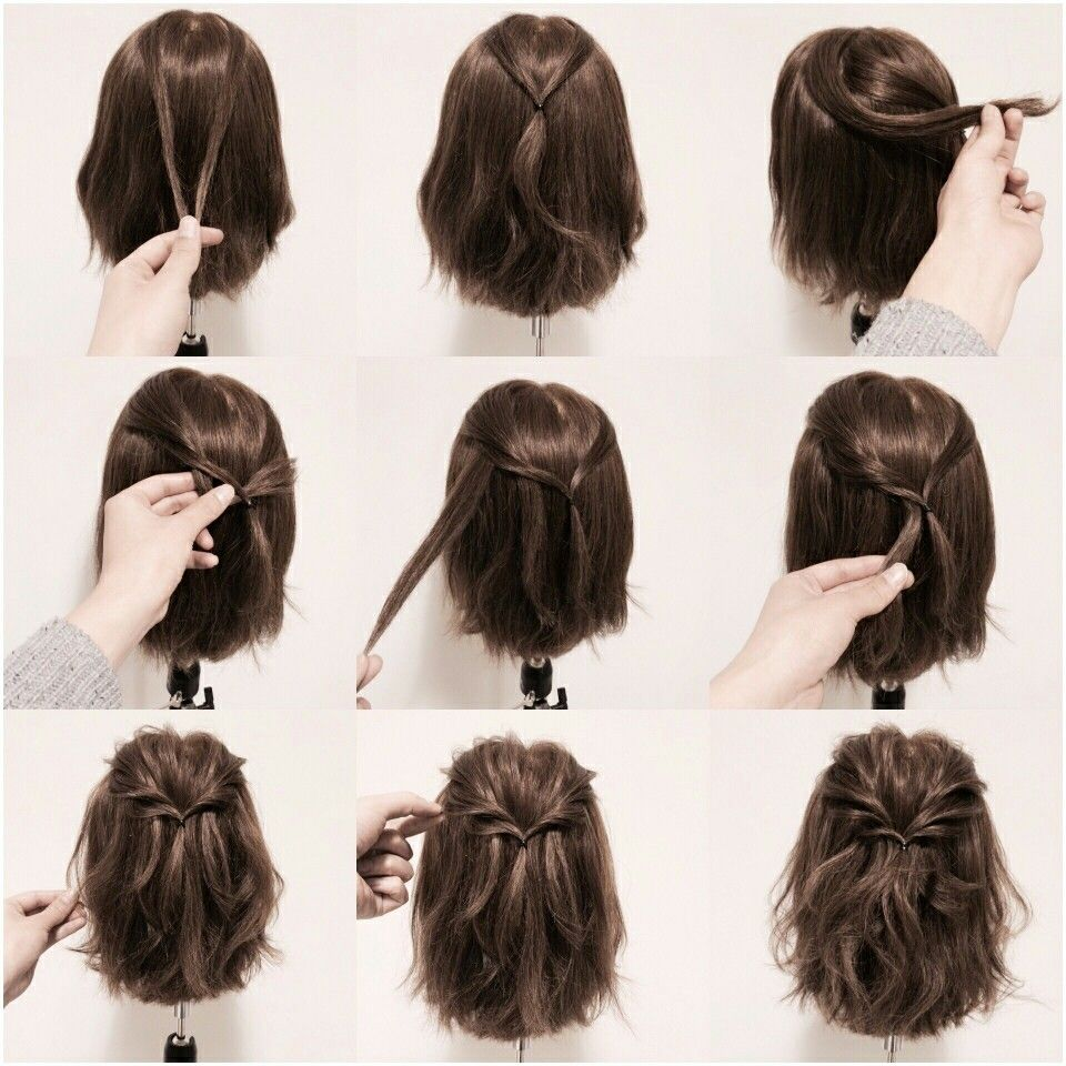 How To Do An Easy Twist Half Up Hairstyle On Short Hair Hair Styles Short Hair Styles Braids For Short Hair