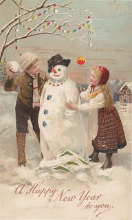 vintage New Year Illustration with snowman. love this one