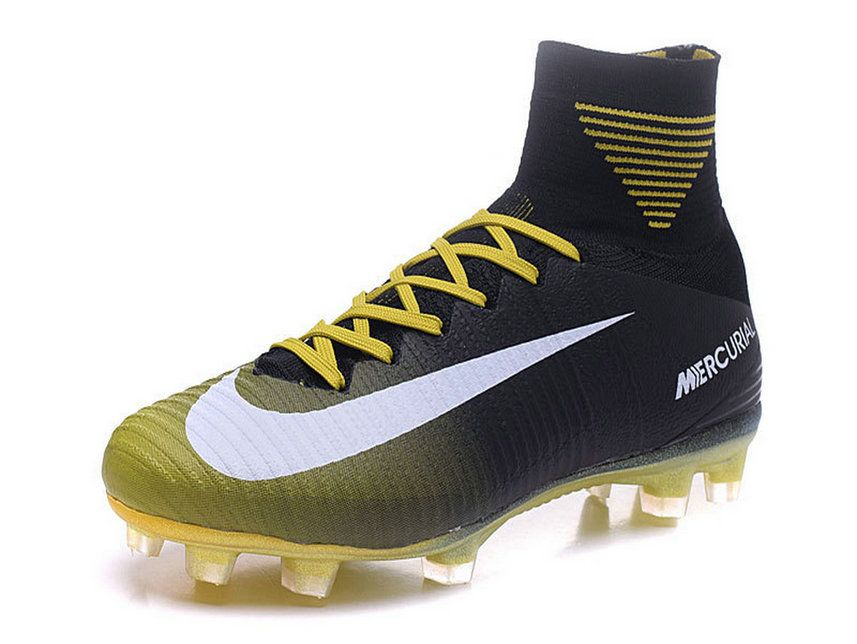 Unisex 2017 2018 Soccer Shoes Nike Mercurial Superfly V Fg Black Yellow White Size 38 46 Soccer Shoes Black Yellow And White Soccer Boots