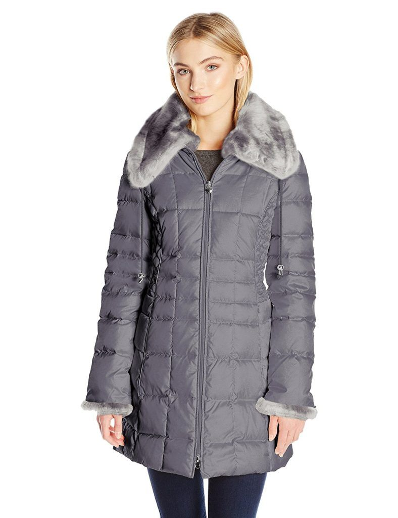 Laundry By Shelli Segal Women S 3 4 Down Quilted Coat With Faux