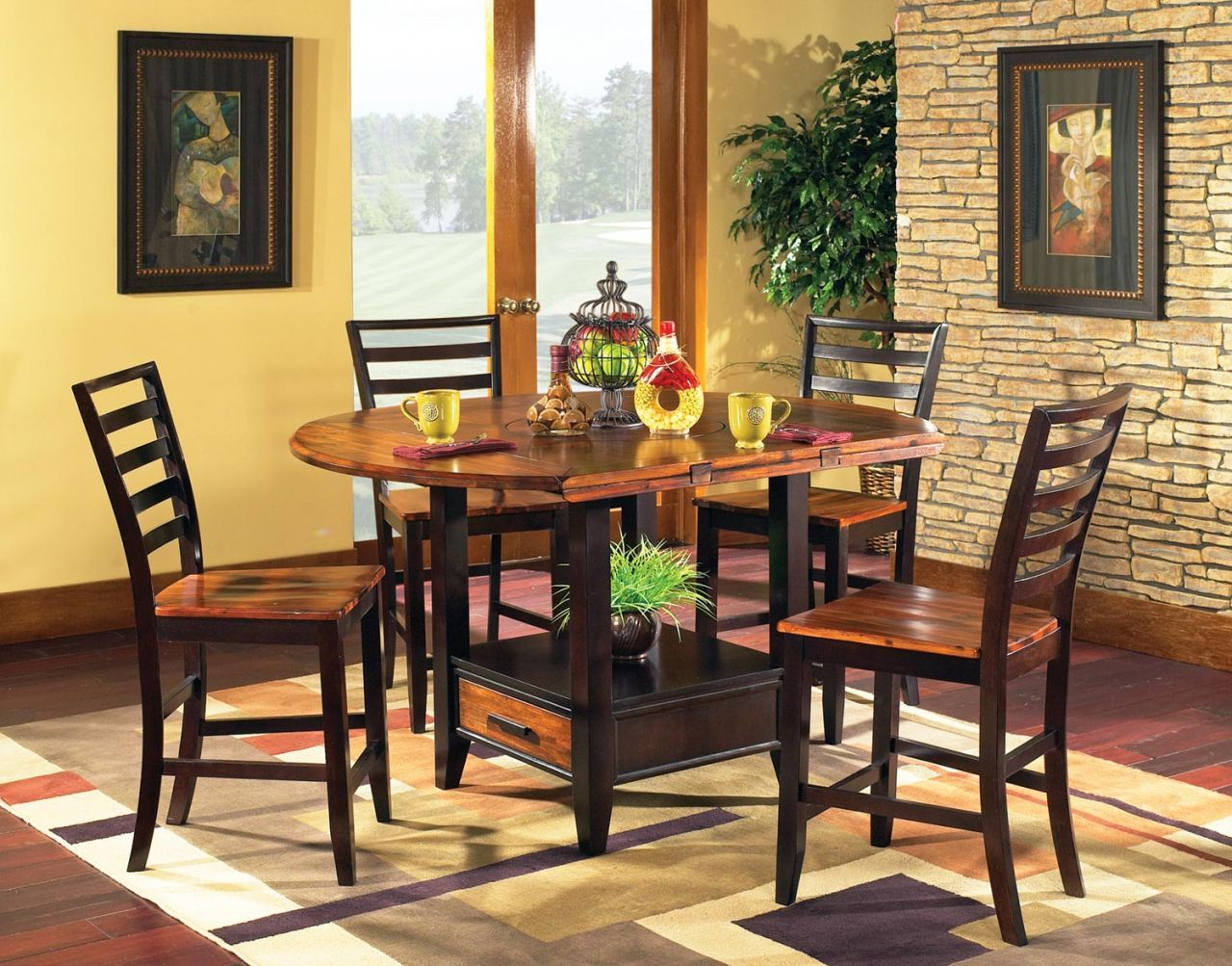 Abaco Square Round Drop Leaf Counter Height Dining Room Set Dining Table With Storage Dining Table Counter Height Dining Sets