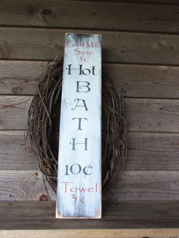 Primitive Sign Rustic Home Decor Country Wood Signs Hand Painted Bath