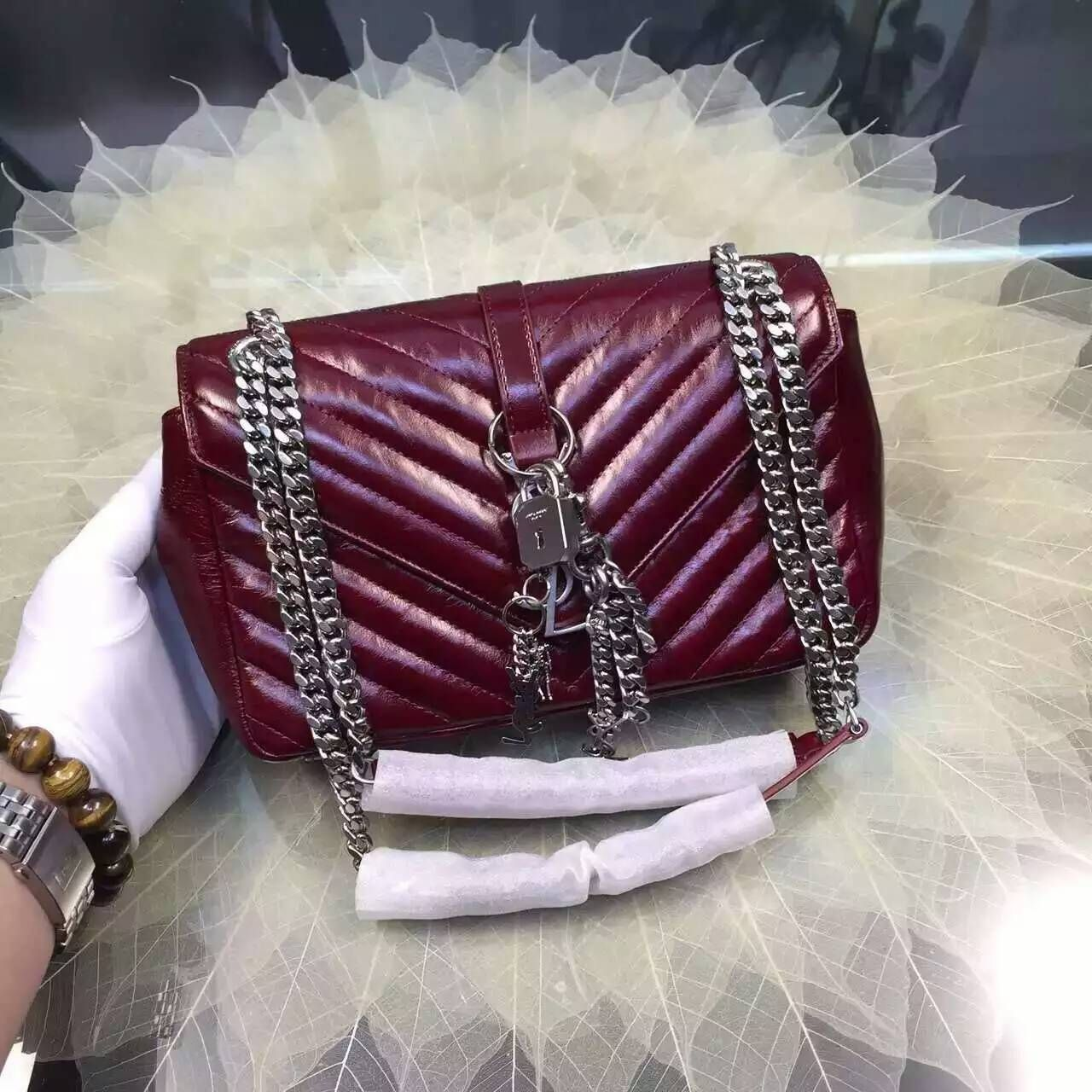 2016 Cheap YSL Out Sale with Free Shipping-Saint Laurent Classic Medium  Baby Monogram Satchel in Bordeaux Matelasse Leather Silver dc0c2e842362c