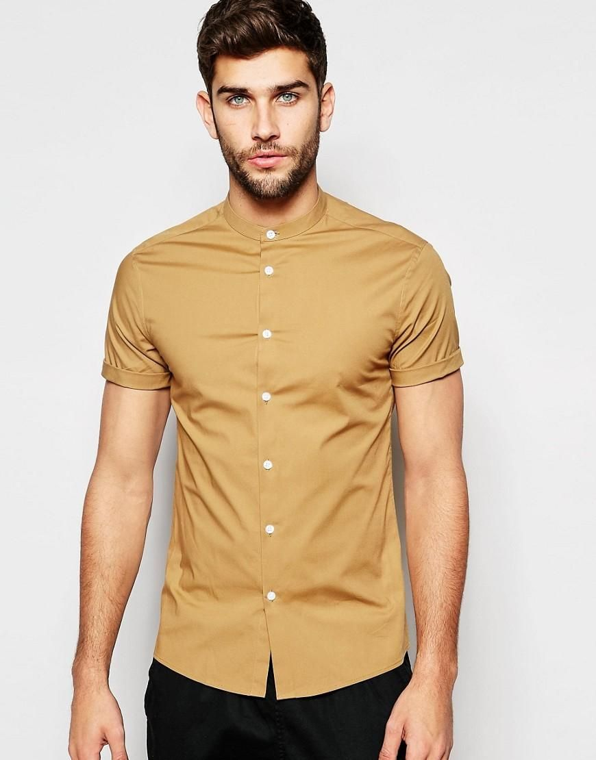 ASOS | ASOS Skinny Shirt In Camel With Grandad Collar And Short Sleeves at  ASOS
