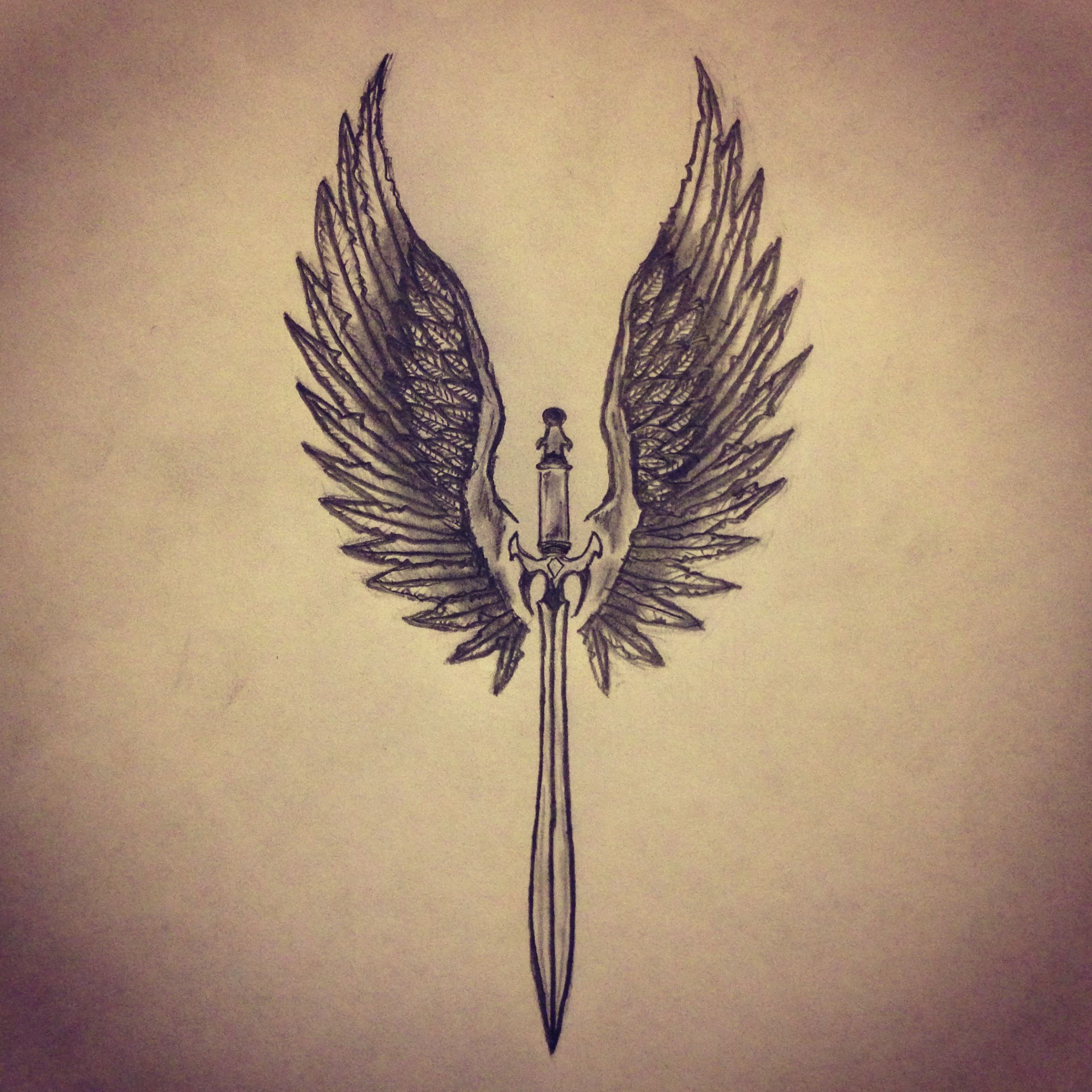 Angel Wings Sword Tattoo Sk Art Sketches All Pieces T Shirt Fredom Buterfly Wanita B0020 Sketch By Ranz